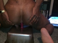trying to fit a big dildo in my ass. prostate play